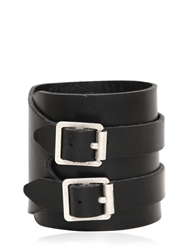 Saint Laurent Double Buckle Leather Bracelet Black