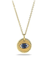 David Yurman Cable Collectibles Evil Eye Charm Necklace With Blue Sapphire Black Diamonds And White Diamonds In Gold