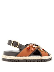 Marni Fusbett Slingback Neoprene And Leather Sandals Brown Multi