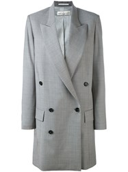 Golden Goose Deluxe Brand Long Double Breasted Coat Women Polyester Acetate Virgin Wool S Grey