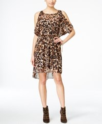 Thalia Sodi Animal Print Cold Shoulder Blouson Dress Only At Macy's