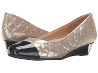 Trotters Langley Gold Quilted Black Pearlized Patent Women's Wedge Shoes