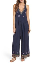 Kas New York Osian Hand Embroidered Cotton Gauze Jumpsuit Navy