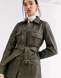 Muubaa Belted Utility Patent Leather Jacket In Olive Green