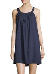 Saks Fifth Avenue Collection Cotton Dot Chemise Navy