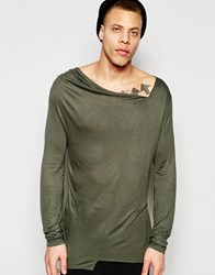 Asos Longline Long Sleeve T Shirt With Asymetric Drape Neck Khaki Green