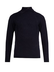 Kolor High Neck Wool Sweater Blue