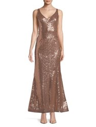 Jump Sequined Sleeveless Gown Gold
