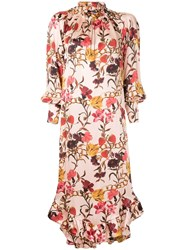 Mother Of Pearl Ruffle Hem Floral Dress Multicolour