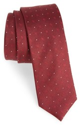 The Tie Bar Men's Geo Key Geometric Silk Burgundy
