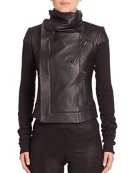 Rick Owens Leather And Wool Biker Jacket Black