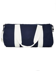 The Idle Man Barrel Bag Navy And White