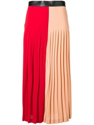 Givenchy Two Tone Pleated Midi Skirt Red
