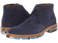 Aquatalia By Marvin K Jeffrey Navy Dress Suede Men's Lace Up Boots Blue