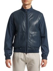 Saks Fifth Avenue Collection Perforated Mixed Media Leather Jacket Navy