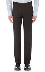 Isaia Men's Flat Front Gregory Trousers Brown