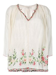 Mes Demoiselles Embroidered Peasant Blouse Women Cotton 1 Nude Neutrals