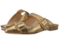 Bill Blass Slyvia Slide Gold Clog Mule Shoes