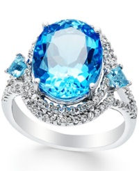Macy's Blue Topaz 8 9 10 Ct. T.W. And Diamond 3 8 Ct. T.W. Oval Ring In 14K White Gold