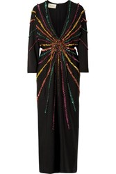 Gucci Embellished Silk Crepe De Chine Gown Black