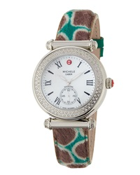 Michele Caber Diamond Watch W Cheetah Print Calf Hair Strap Silver