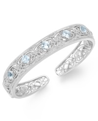 Macy's Aquamarine 2 Ct. T.W. And Diamond 1 10 Ct. T.W. Bangle Bracelet In Sterling Silver Blue