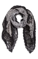 La Fiorentina Women's Animal Print Scarf Black