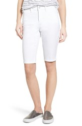 Nydj Petite Women's Stretch Twill Bermuda Shorts Optic White