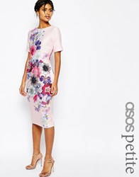 Asos Petite Textured Wiggle Dress In Placement Floral Print Multi