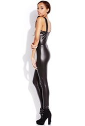Forever 21 Be Seen Faux Leather Jumpsuit Black