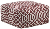 Chandra Textured Contemporary Printed Cotton Pouf Maroon Cream