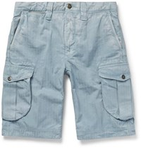 Incotex Herringbone Washed Cotton Cargo Shorts Light Blue
