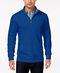 Club Room Men's Big And Tall Quarter Zip Sweater Only At Macy's Lazulite