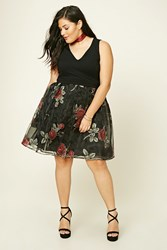 Forever 21 Plus Size Floral Mesh Dress Black Red