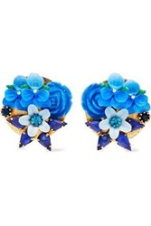 Elizabeth Cole Gold Tone Crystal And Resin Earrings Blue
