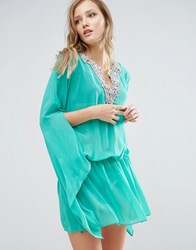 Forever Unique Beach Dress With Fluted Sleeve Green