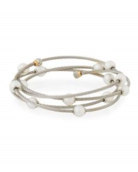Alor Cable Wrap Bangle W Freshwater Pearls Gray