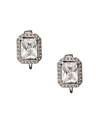 Carolee Rectangular Button Clip On Earrings Silver Clear