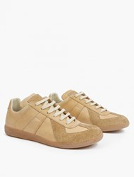 Maison Martin Margiela Nude Leather And Suede Replica Sneakers Camel