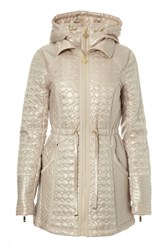 Carolina Cavour Hooded Quilted Marschmallow Jacket Brown