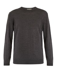 Kilgour Crew Neck Merino Wool Sweater Charcoal