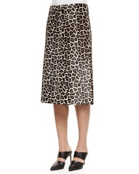 Theory Midi L. Sahara Printed Leather Skirt Ivory Gray