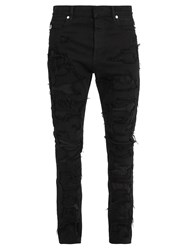 Balmain Distressed Patchwork Skinny Jeans Black