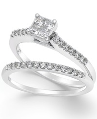Macy's Diamond Engagement Ring Bridal Set 1 2 Ct. T.W. In 14K White Gold No Color