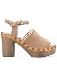 Mou Ankle Strap Clogs Nude And Neutrals