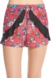 Women's Band Of Gypsies Floral Ruffle Shorts Wine Teal
