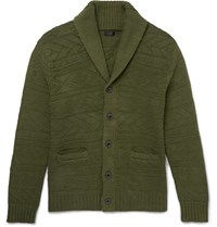 J.Crew Shawl Collar Knitted Cotton Cardigan Green
