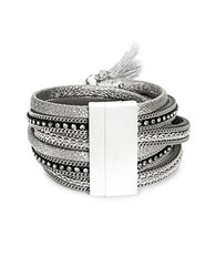 Design Lab Lord And Taylor Multi Strand Cuff Bracelet Silver