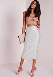 Missguided Sequin Longline Midi Skirt Silver Grey
