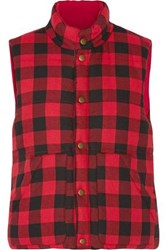 Maje Gorky Reversible Quilted Checked Flannel Vest Red